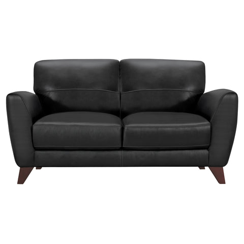 Armen Living LCJD2BL Jedd Contemporary Loveseat in Genuine Black Leather with Brown Wood Legs