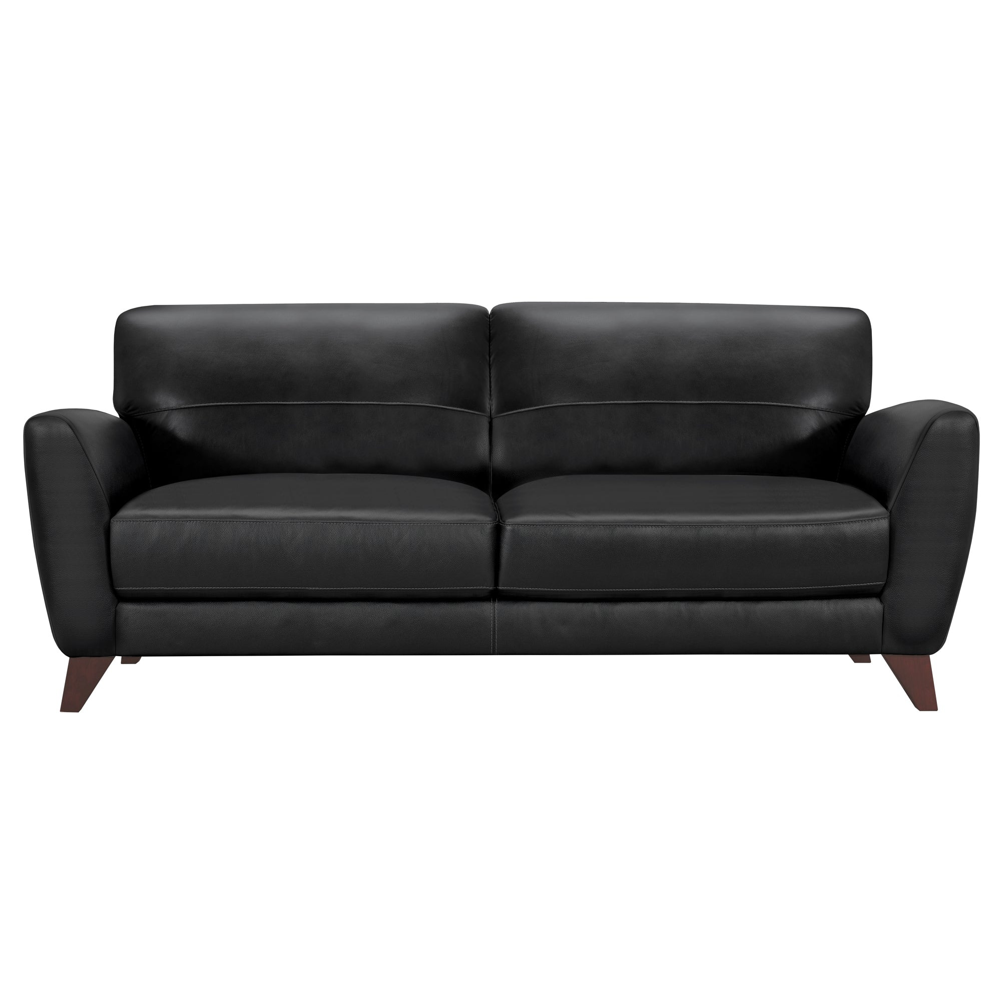 Contemporary Sofa Genuine Black Leather Brown Wood Legs Jedd 361 Product Photo