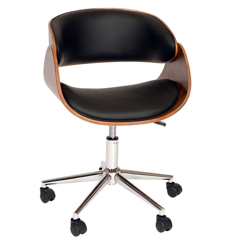 Armen Living LCJUOFCHBL Julian Modern Office Chair In Chrome Finish with Black Faux Leather And Walnut Veneer Back