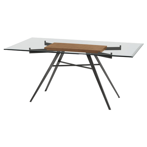 Armen Living LCLEDIMFWABS Leah Contemporary Rectangular Dining Table in Mineral Finish with Clear Glass Top and Walnut Wood Insert