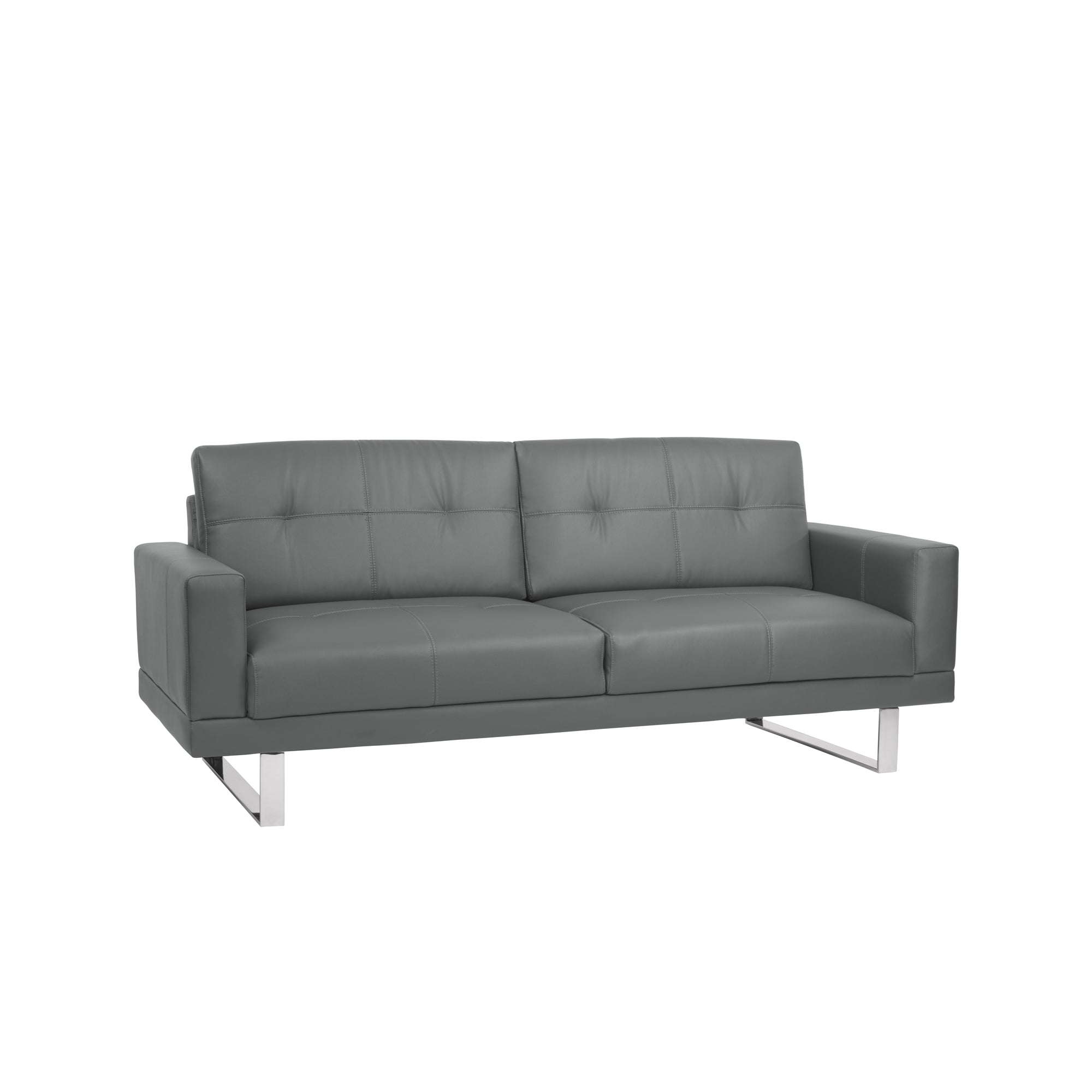 Armen Living Sofa Gray Tufted Faux Leather Chrome Legs Lincoln
