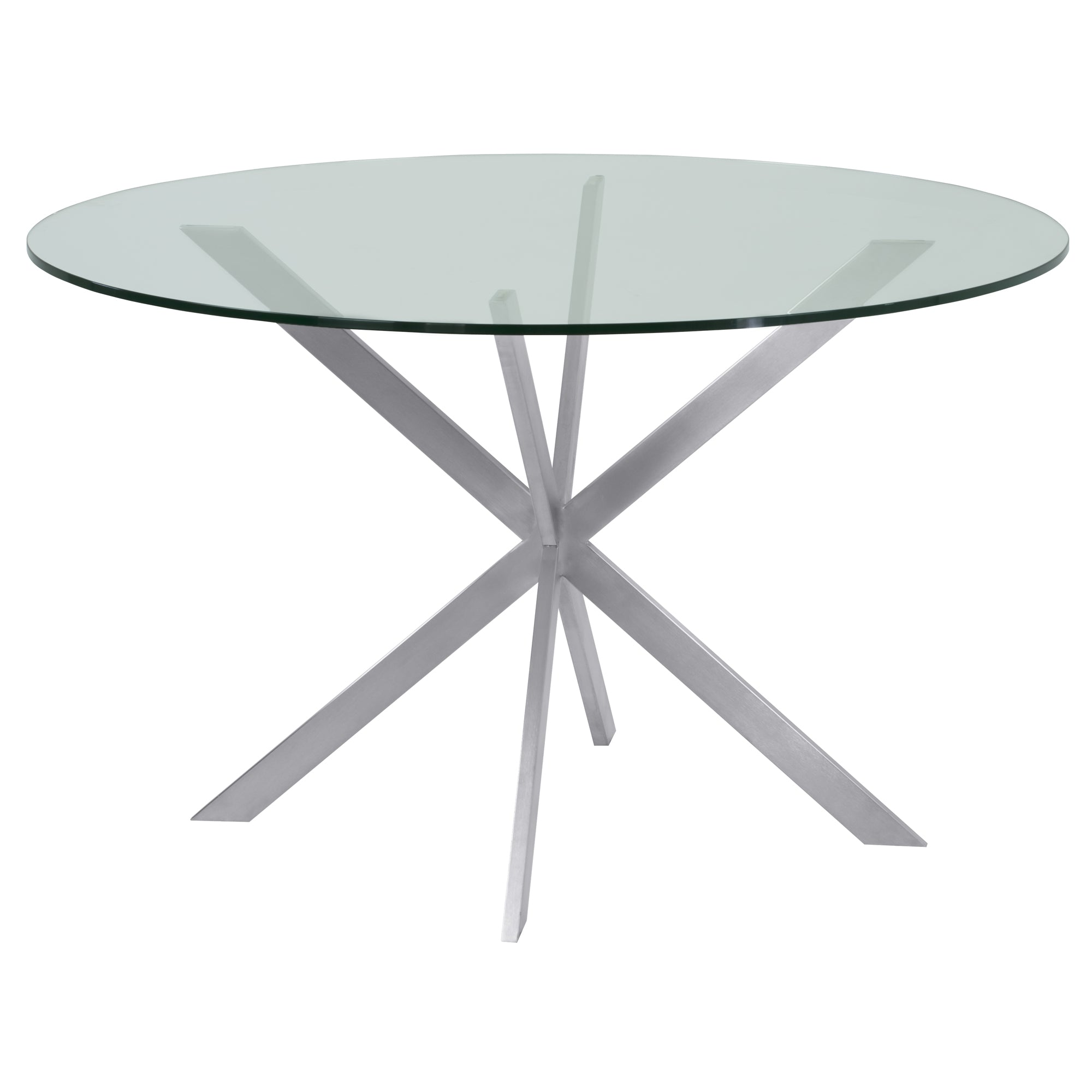 Stainless | Clear | Brush | Steel | Glass | Round | Table | Live | Dine | Top