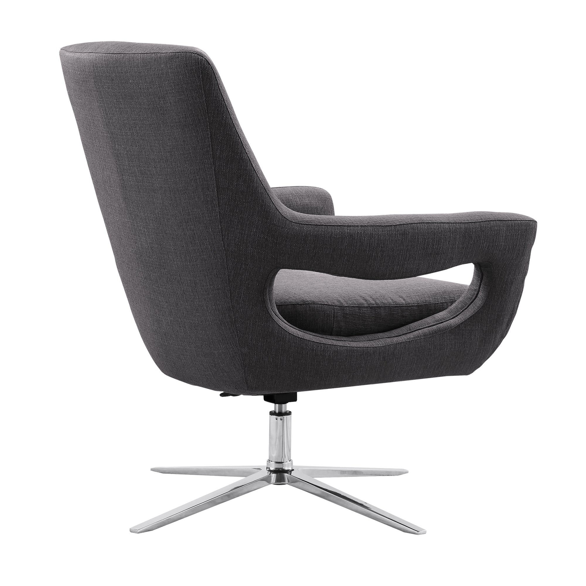 Armen Living Contemporary Adjustable Swivel Accent Chair Polished Chrome Grey Fabric Quinn
