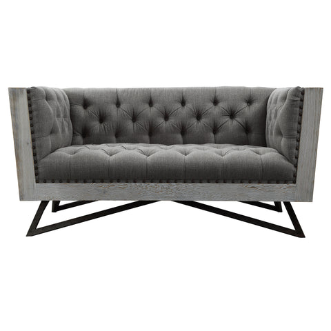 Armen Living LCRE2GR Regis Contemporary Loveseat in Grey Fabric with Black Metal Finish Legs and Antique Brown Nailhead Accents