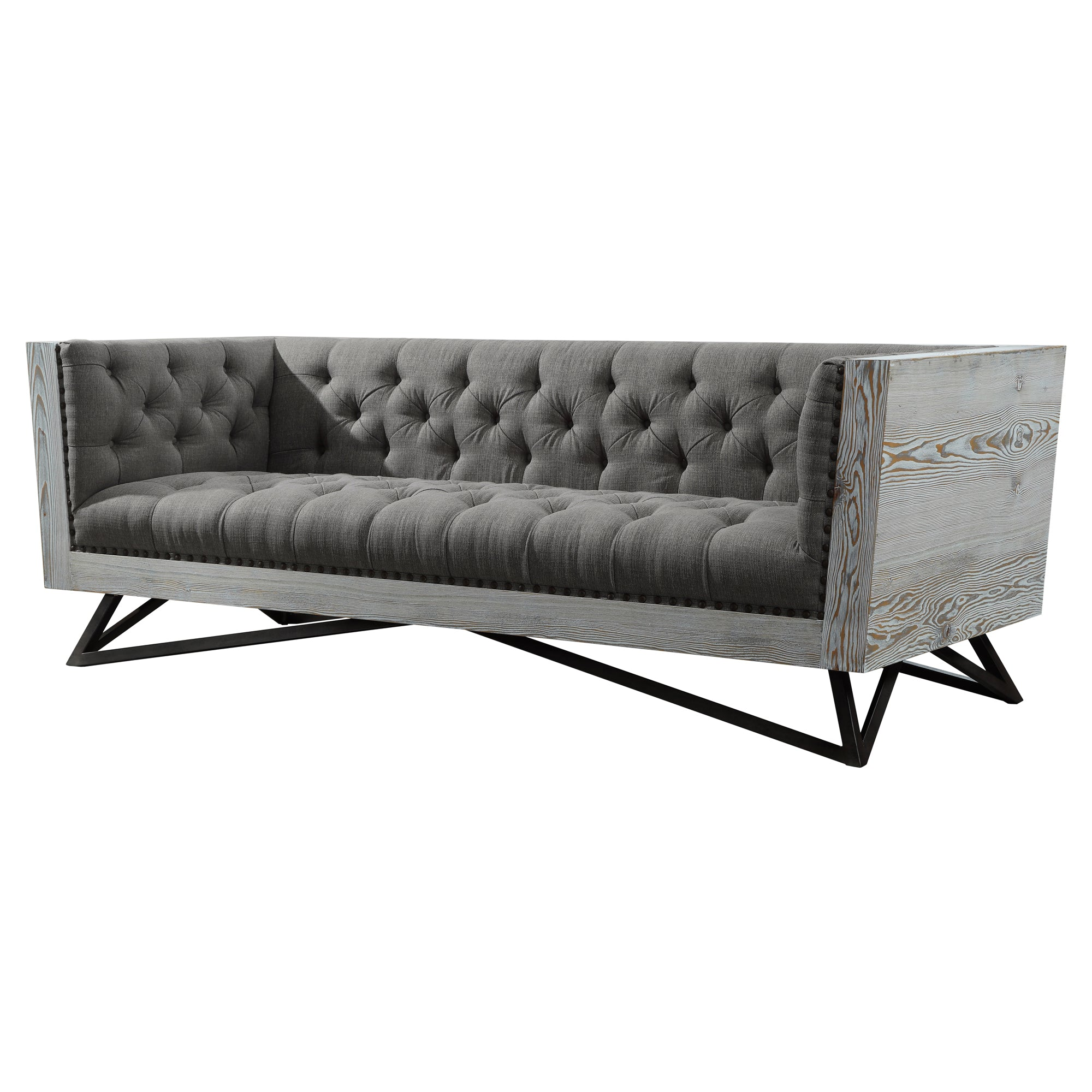 Contemporary Sofa Grey Fabric Black Metal Legs Antique