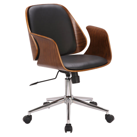 Armen Living LCSGOFCHWABL Santiago Mid-Century Office Chair in Black Faux Leather with Walnut Wood Finish