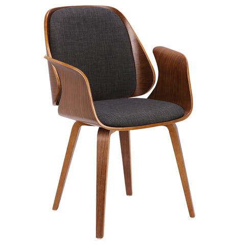 Armen Living LCTFCHWACH Tiffany Mid-Century Dining Chair in Charcoal Fabric with Walnut Veneer Finish
