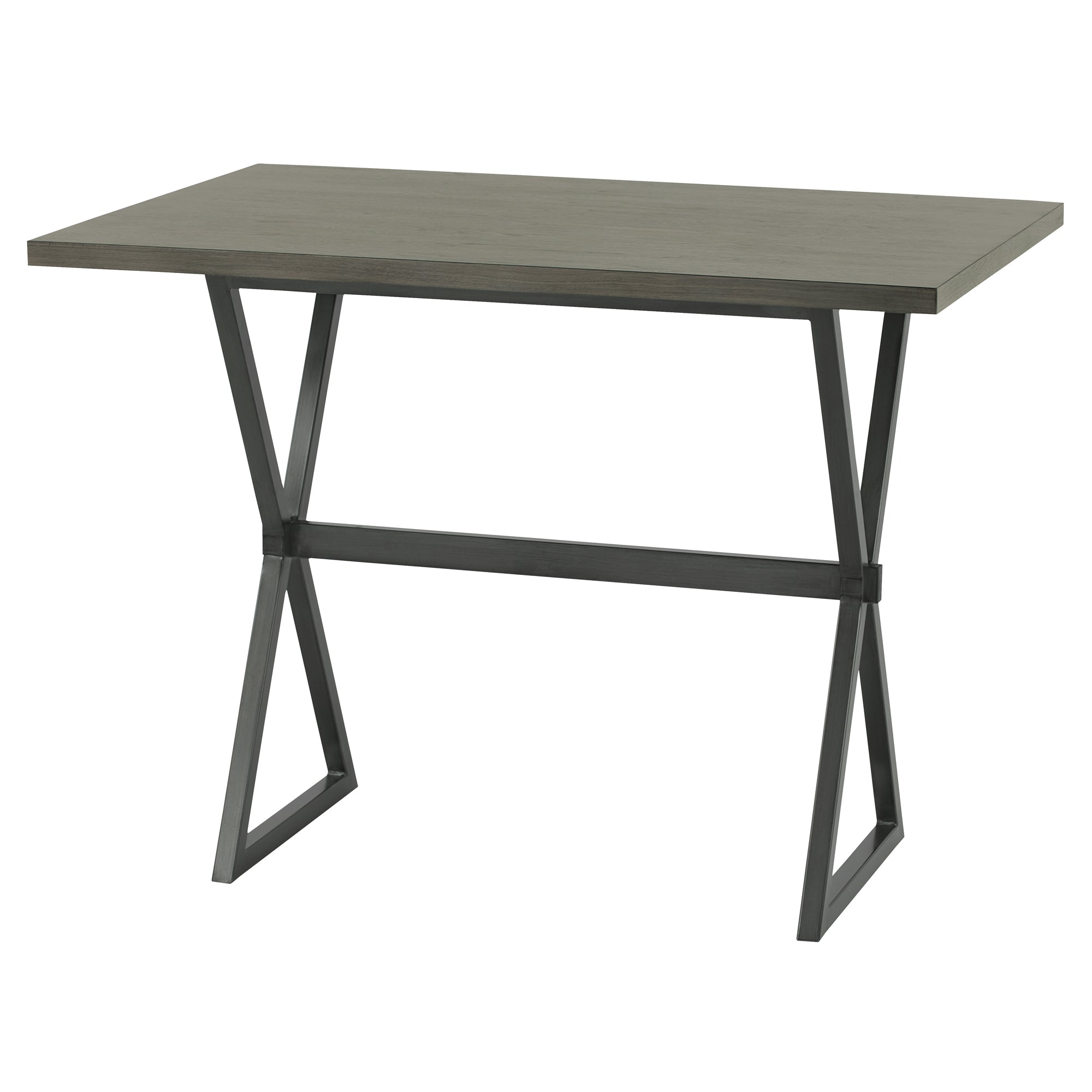 Armen Living LCVLBTTOGW Valencia Contemporary Rectangular Bar Table in Mineral Finish with Grey Walnut Wood Top