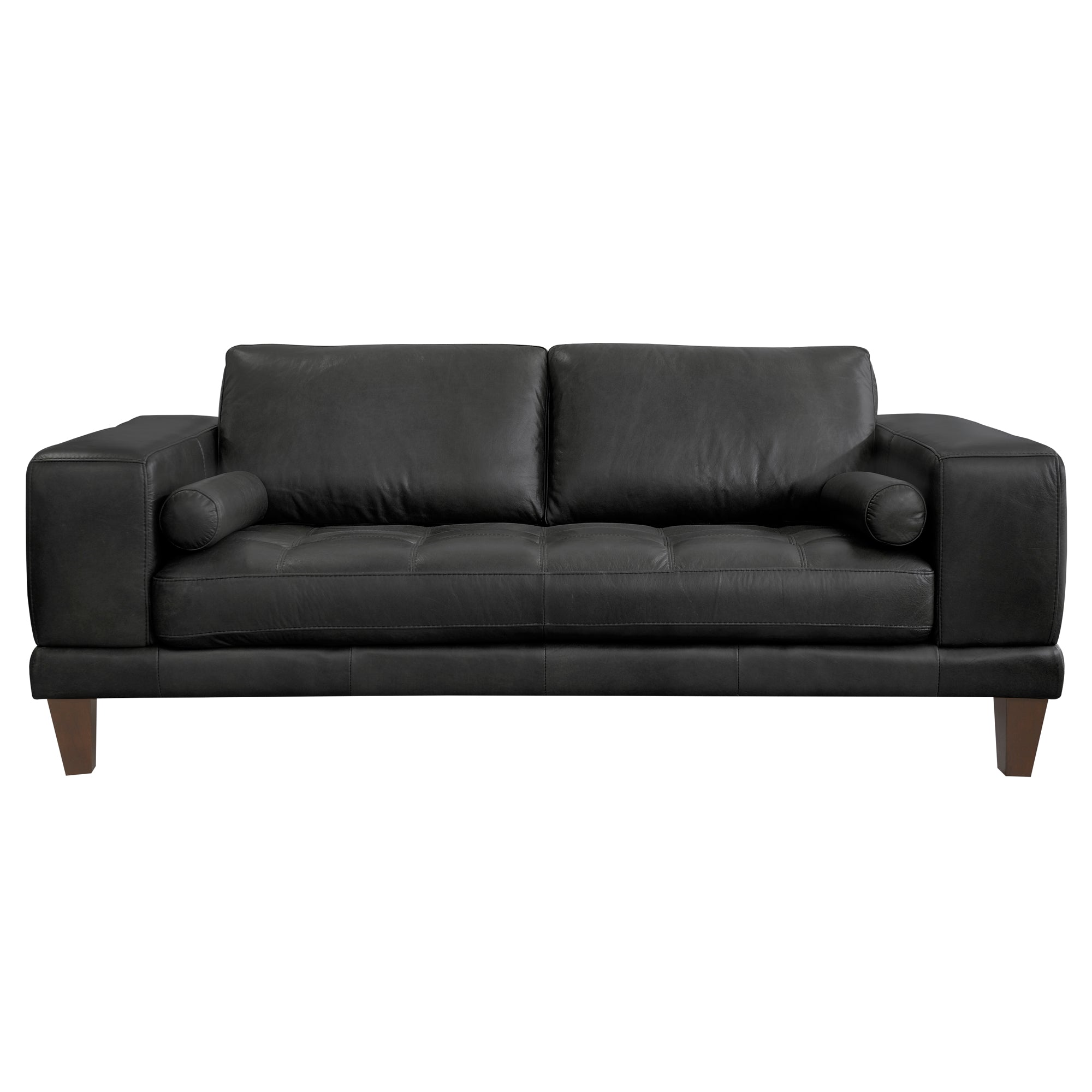 Contemporary Loveseat Genuine Black Leather Brown Wood Legs 10534 Product Photo