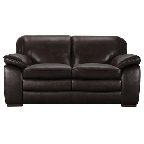 Armen Living LCZA2BR Zanna Contemporary Loveseat in Genuine Dark Brown Leather with Brown Wood Legs