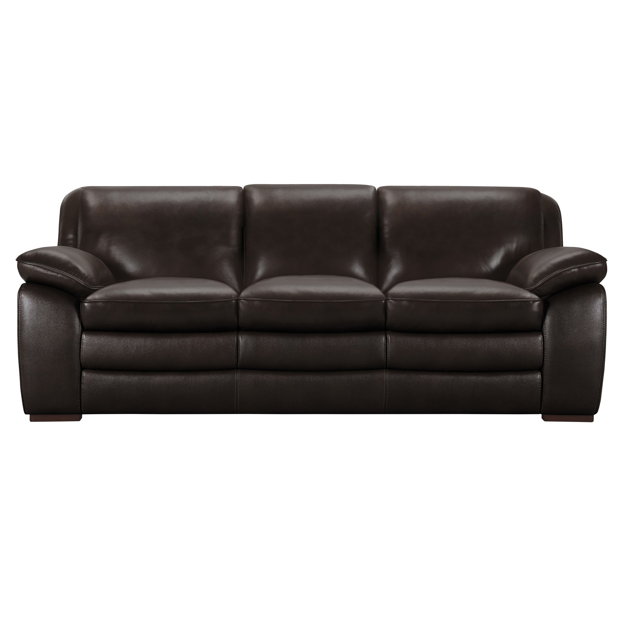 Armen Living Contemporary Sofa Genuine Dark Brown Leather Brown
