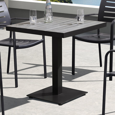 Armen Living LCZADIBR Zander Outdoor Patio Dining Table in Brown Finished Cast Aluminum