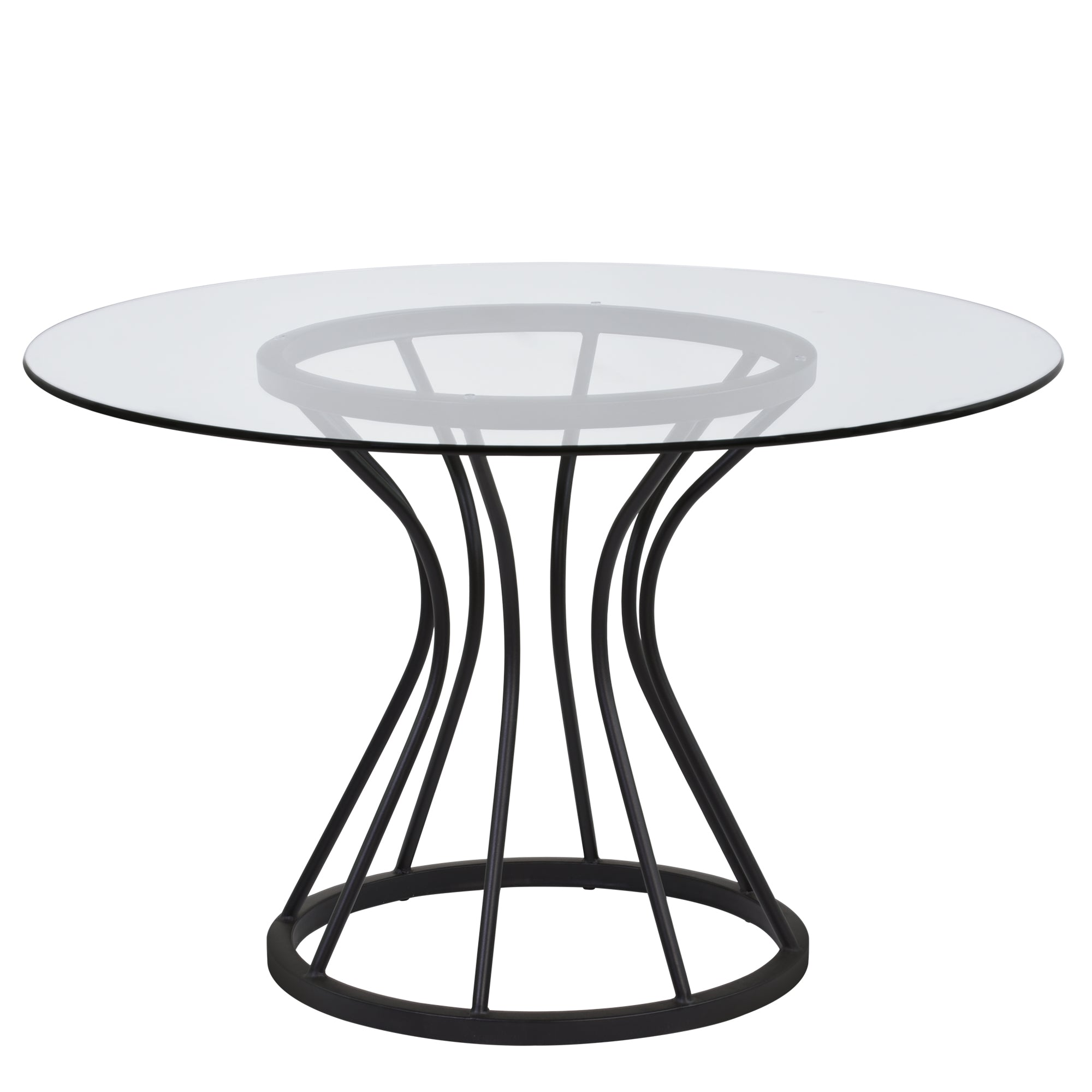 Armen Living LCZUDITOCLGL Zurich Round Dining Table in Black Finish and 48 Glass Top