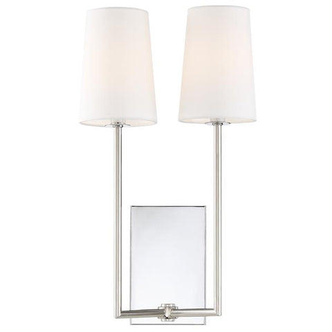 Crystorama Lena 2 Light Polished Chrome Sconce
