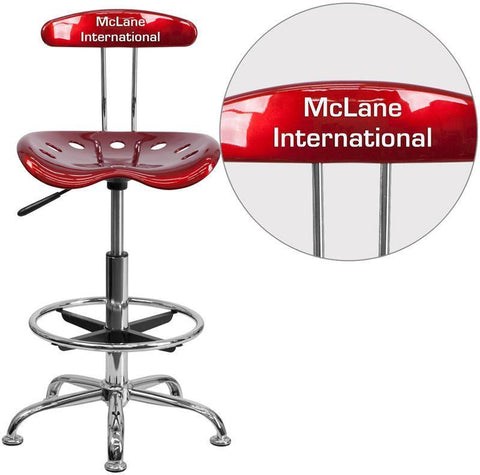 Flash Furniture LF-215-WINERED-TXTEMB-VYL-GG Personalized Vibrant Wine Red and Chrome Drafting Stool with Tractor Seat - Peazz.com
