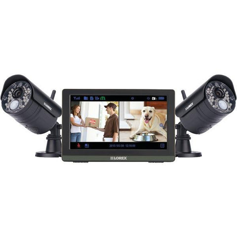 "Lorex LW2772H Wireless 4-Channel 720p HD Touchscreen Surveillance System with 7"" LCD Screen & 2 Wireless Cameras - Peazz.com"