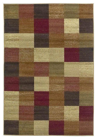 "KAS Rugs Lifestyles 5426 Beige Squares Machine-Made 100% Heat-set Polypropelene 7'10"" x 9'10"""