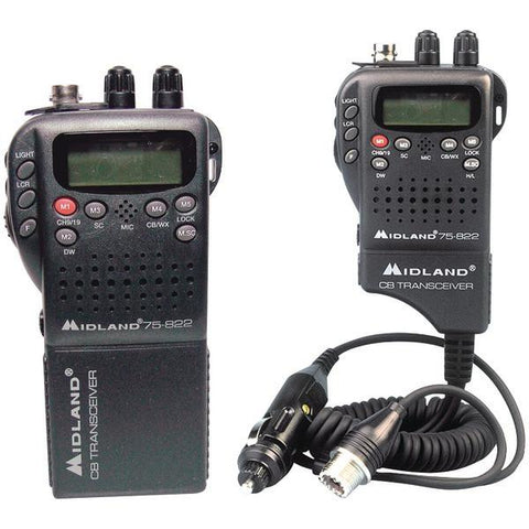 Midland 75-822 Handheld 40-Channel CB Radio with Weather/All-Hazard Monitor & Mobile Adapter - Peazz.com