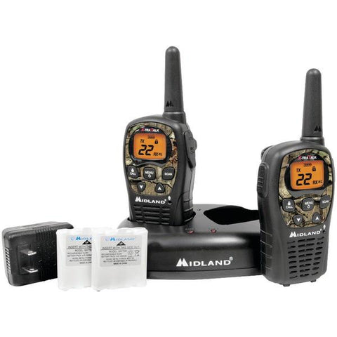 Midland LXT535VP3 24-Mile Camo GMRS Radio Pair Value Pack with Drop-in Charger & Rechargeable Batteries - Peazz.com