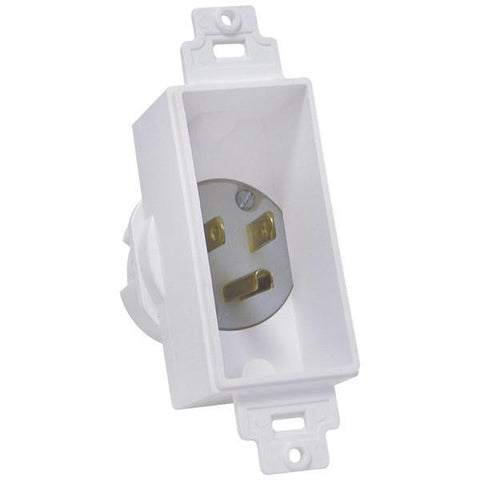 MIDLITE 4642-W Single-Gang Décor Recessed Power Inlet (White) - Peazz.com