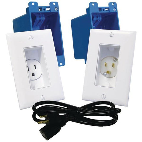 MIDLITE A46-W Décor Recessed Receptacle & Power Inlet Kit (White) - Peazz.com
