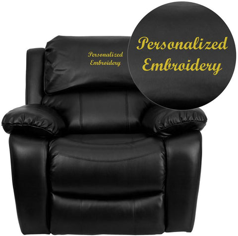 Flash Furniture MEN-DA3439-91-BK-TXTEMB-GG Personalized Black Leather Rocker Recliner - Peazz.com