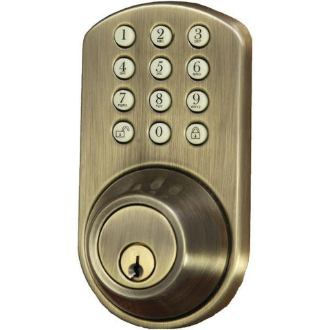 Morning Industry Inc. HF-01AQ Touchpad Electronic Dead Bolt (Antique Brass) - Peazz.com