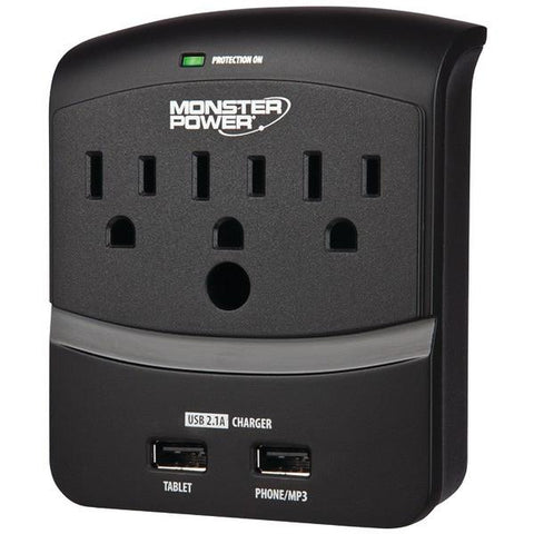 Monster Power 121822 3-Outlet Core Power 350 Wall Tap with 2 USB Ports - Peazz.com
