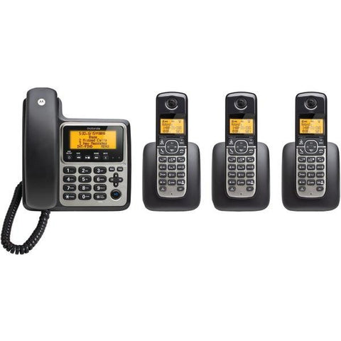 Motorola M804C DECT 6.0 4-Handset Digital Cordless/Corded Phone System with Answering Machine - Peazz.com