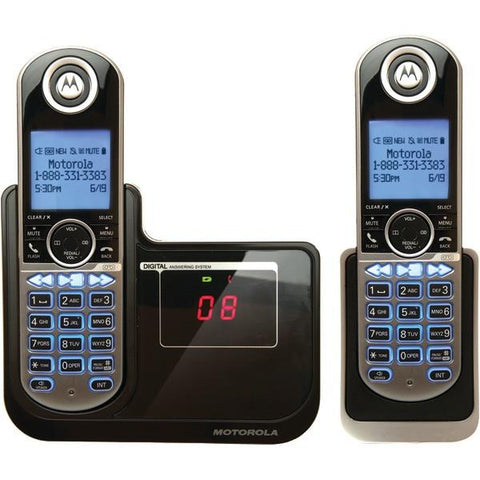 Motorola P1002 DECT 6.0 Cordless Phone System with Caller ID & Answering System (2-Handset System) - Peazz.com