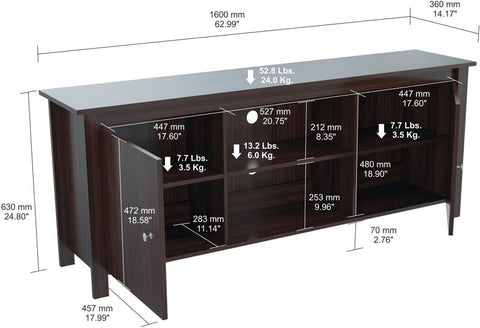 "Inval America MTV-12119 Espresso-Wengue Finish 60"" TV Stand - Peazz.com - 1"