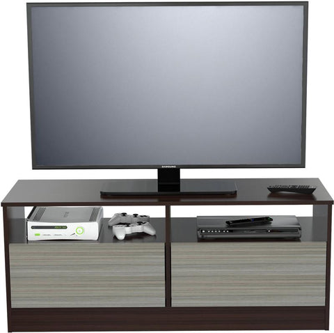 Inval America MTV-7419 Espresso-Wengue- Smoke Finish TV Stand - Peazz.com - 1