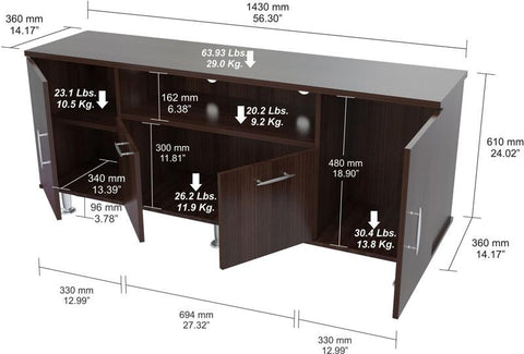 Inval America MTV-8419 Espresso-Wengue Finish 60 Inches Flat-Screen TV Stand - Peazz.com - 1