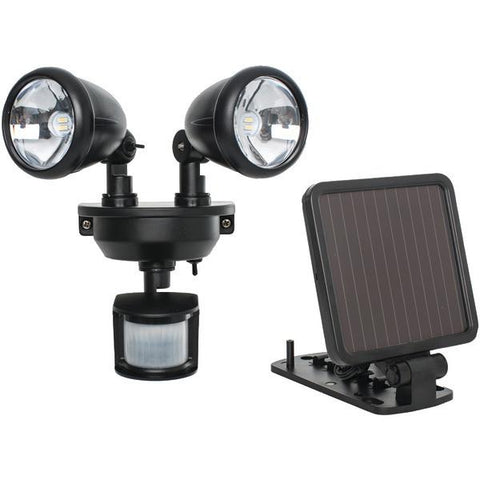 MAXSA Innovations 44215 Solar-Powered Dual-Head LED Security Spotlight (Black) - Peazz.com