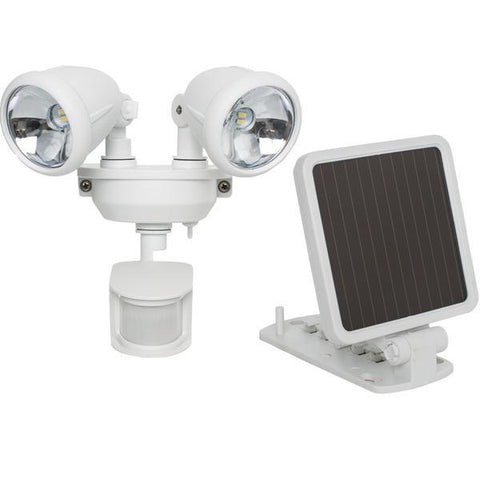 MAXSA Innovations 44217 Solar-Powered Dual Head LED Security Spotlight (White) - Peazz.com