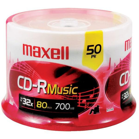 Maxell 625156 - CDR80MU50PK 80-Minute Music CD-Rs (50-ct Spindle) - Peazz.com