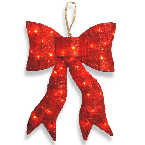 "National Tree MZBO-24CL-1 24"" Red Wavy Sisal Bow with 35 Clear Indoor/Outdoor Lights-UL"