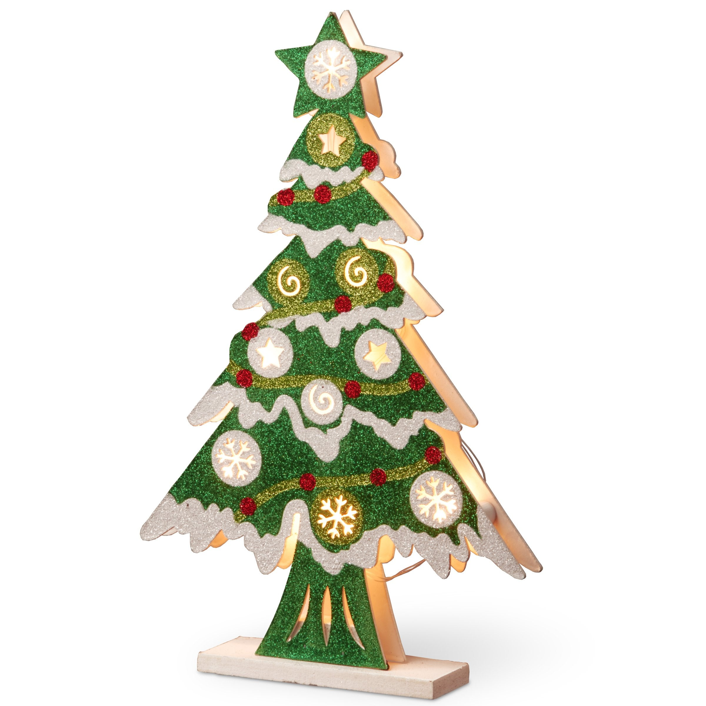 National Tree MZC-1316 17 Wood-Look Double Sided Tree with 10 Warm White Battery Operated LED Light