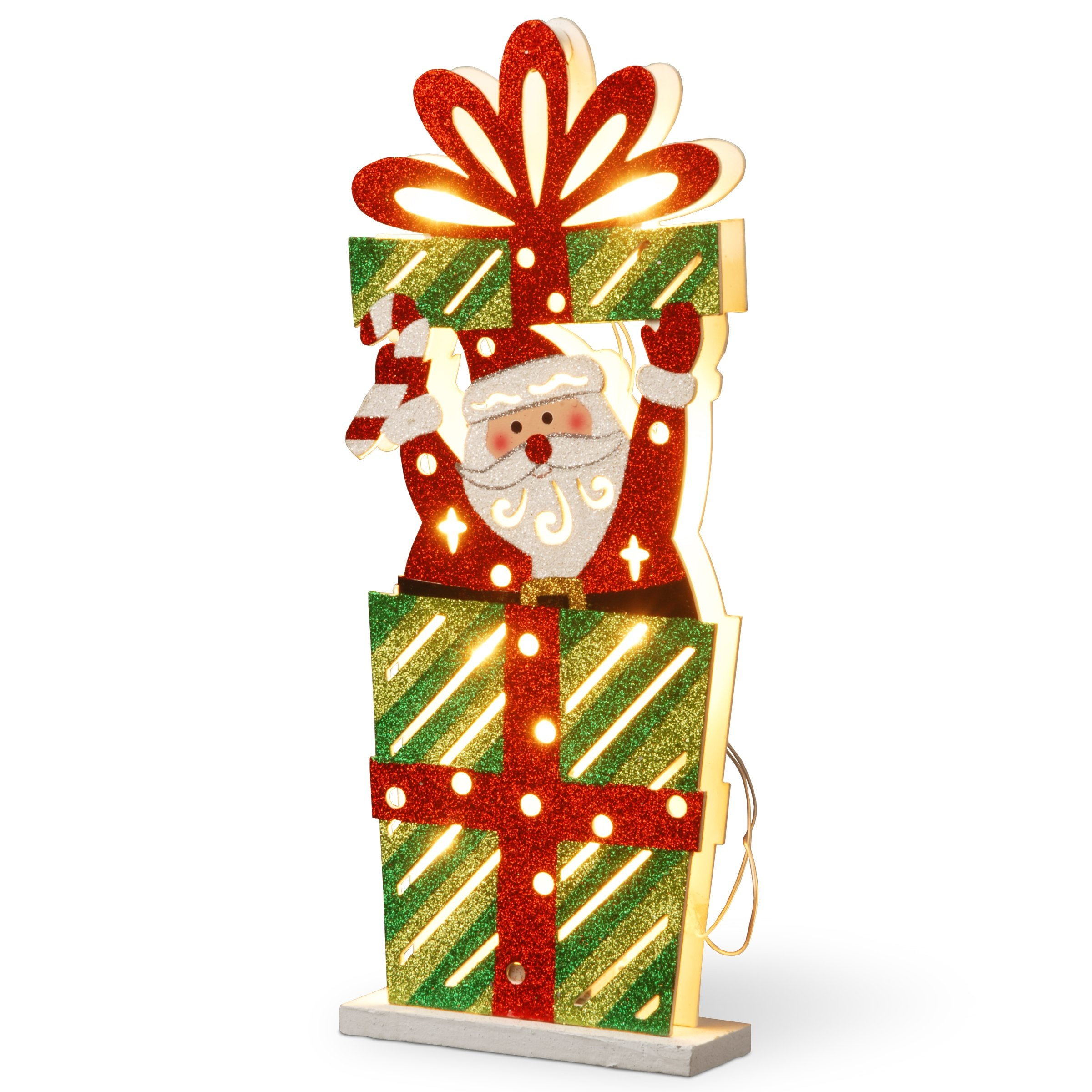 National Tree MZC-1317 17 Wood-Look Double Sided Santa in Giftbox with 10 Warm Warm White Battery O