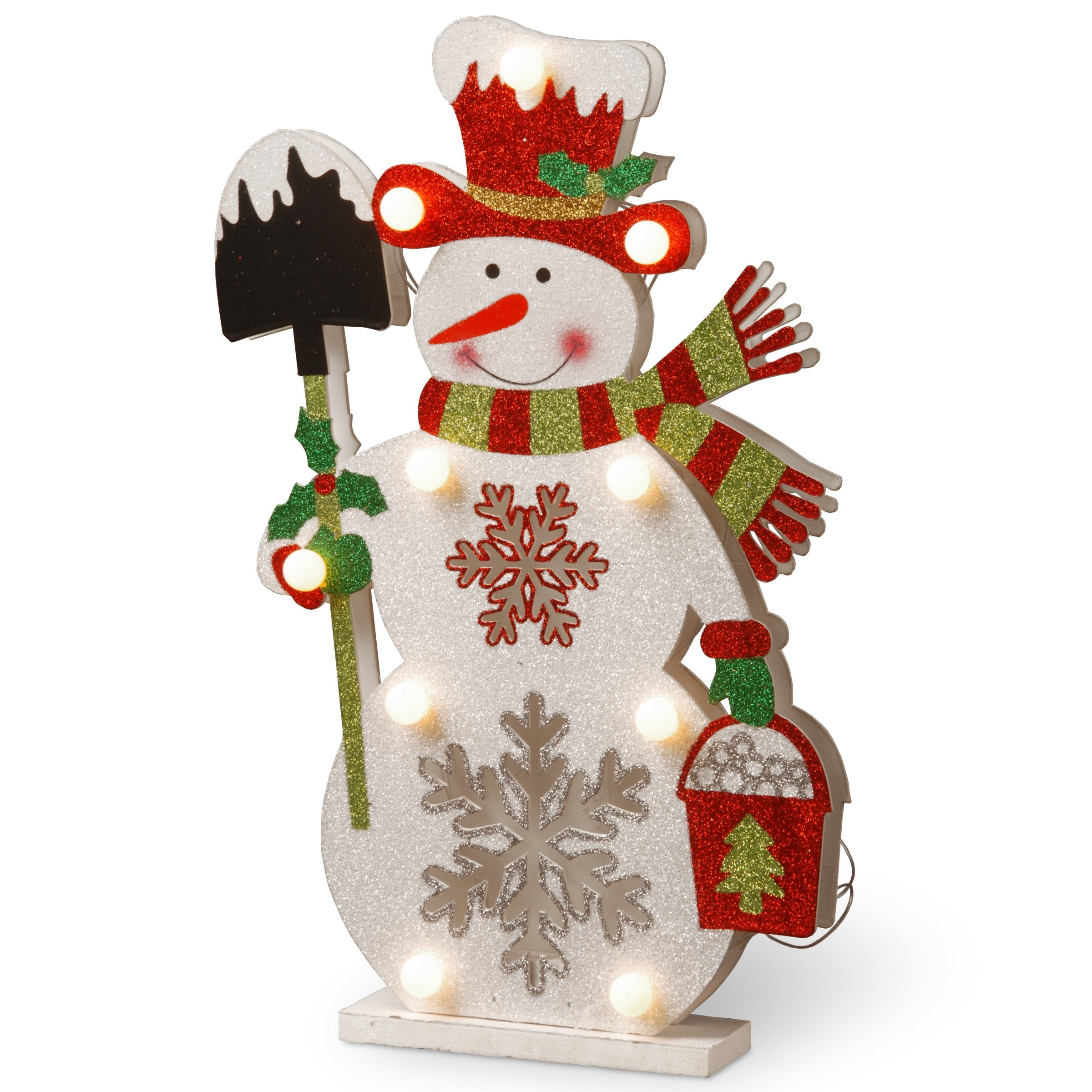 National Tree MZC-1325 17 Wood-Look Double Sided Snowman Holding a Shovel with 10 Warm White Batter