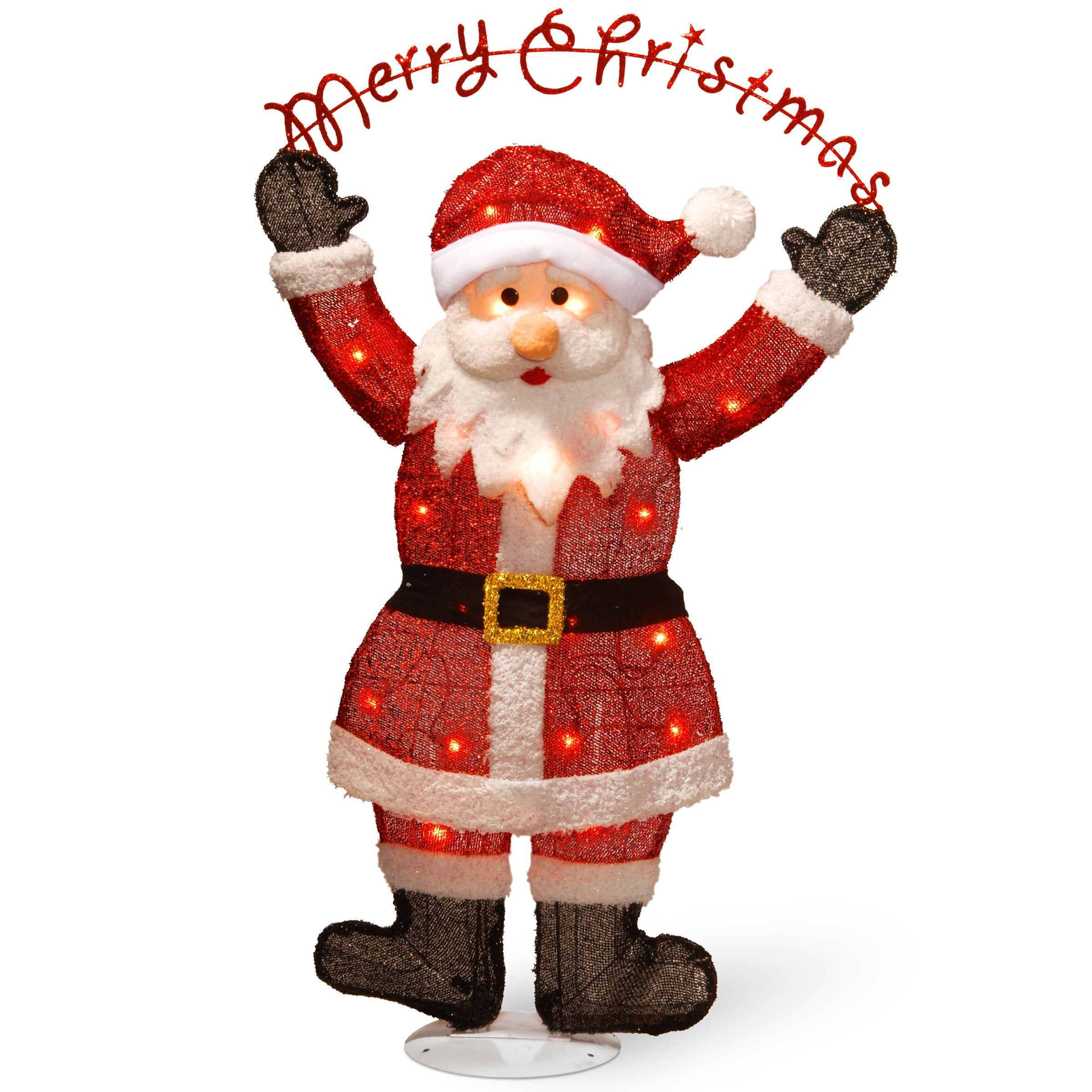 National Tree MZC-303 36 Silver Fabric Tinsel 2D Santa Clause Holding a Sign MerryChristmas with