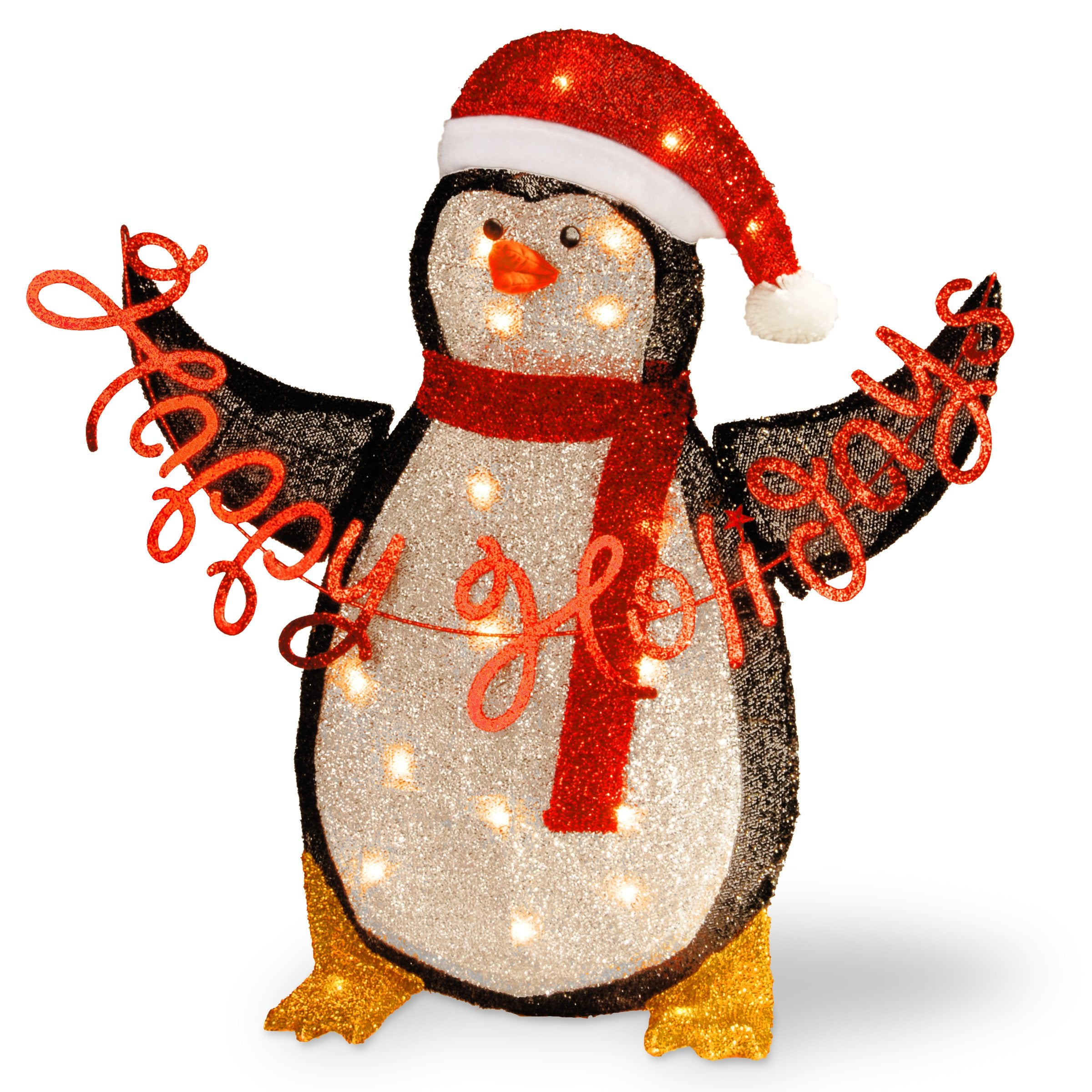 National Tree MZC-304 29 Silver Fabric Tinsel 2D Penguin Holding a Sign Happy Holidays with 20 Cl