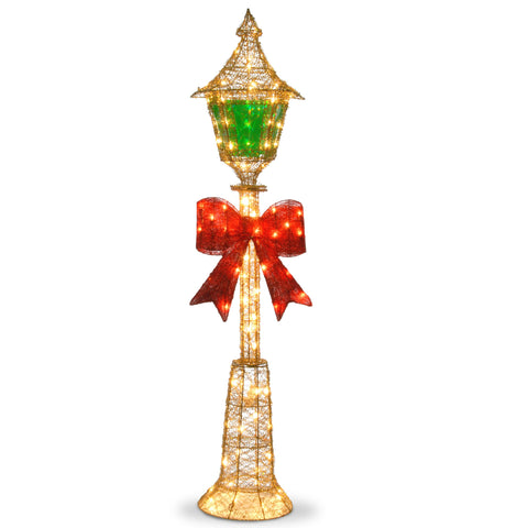 "National Tree MZLP-60BL 60"" Gold Wire Lamp Post with Green PVC Film and Red Bow and 85 Clear Indoor/Outdoor Lights"