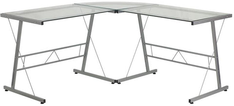 Flash Furniture NAN-CD-22181-GG Glass L-Shape Computer Desk with Silver Frame Finish - Peazz.com - 1