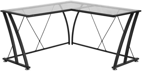 Flash Furniture NAN-WK-096-GG Glass L-Shape Computer Desk with Black Frame Finish - Peazz.com - 1
