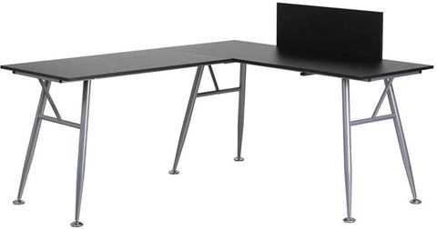 Flash Furniture NAN-WK-110-BK-GG Black Laminate L-Shape Computer Desk with Silver Frame Finish - Peazz.com - 1