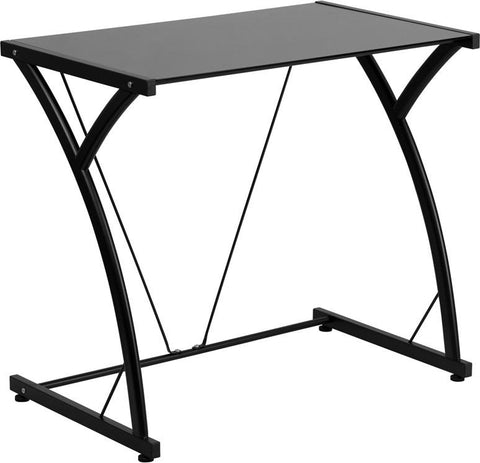 Flash Furniture NAN-WK-SD-02-BK-GG Contemporary Tempered Black Glass Computer Desk with Matching Frame - Peazz.com