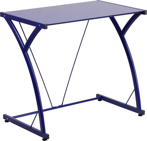 Flash Furniture NAN-WK-SD-02-BLUE-GG Contemporary Tempered Blue Glass Computer Desk with Matching Frame - Peazz.com