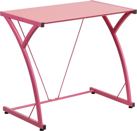 Flash Furniture NAN-WK-SD-02-PINK-GG Contemporary Tempered Pink Glass Computer Desk with Matching Frame - Peazz.com