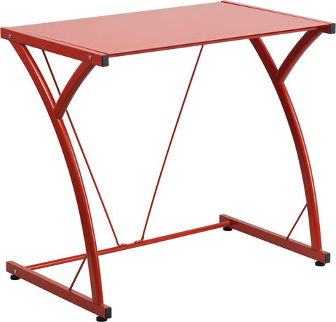 Flash Furniture NAN-WK-SD-02-RED-GG Contemporary Tempered Red Glass Computer Desk with Matching Frame - Peazz.com
